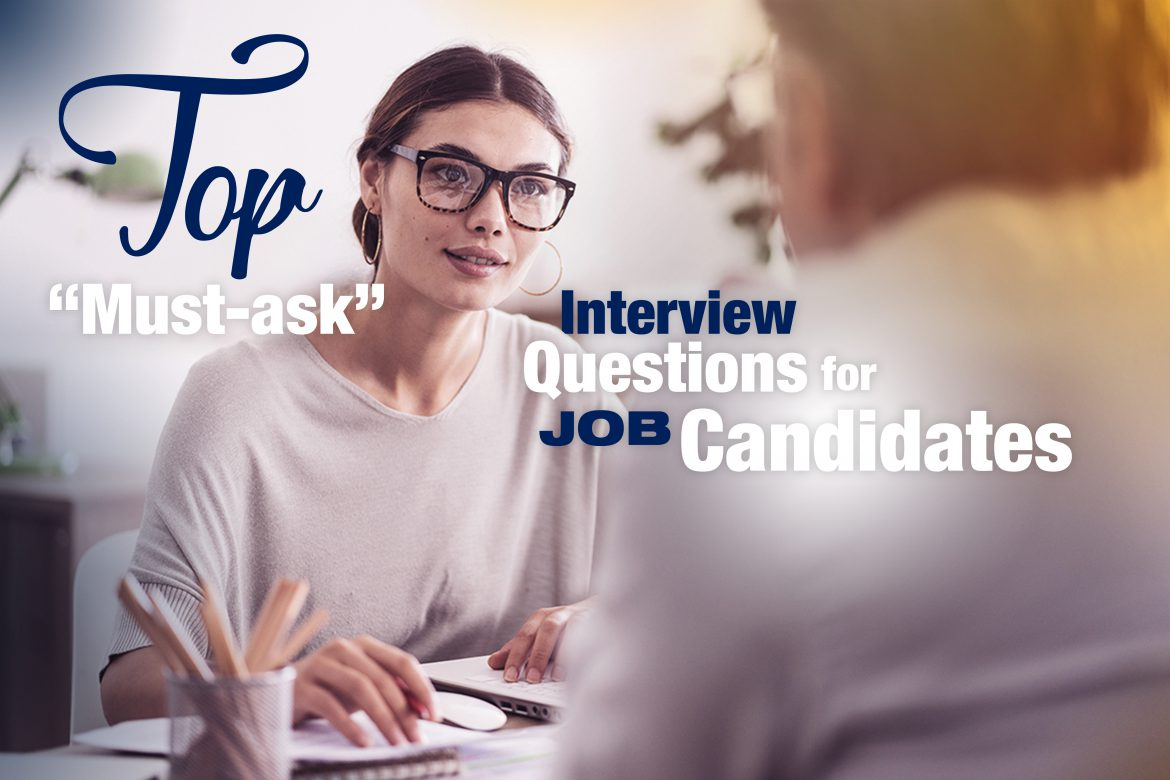 Job interview between young professional woman and man asking good interview questions
